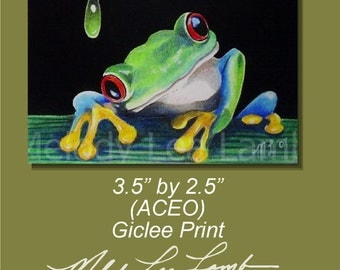 Frog Miniature Art by Melody Lea Lamb ACEO Archival Print