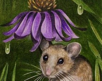 Mouse and Cone-flower Art by  Melody Lea Lamb ACEO Print #461