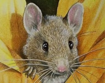 Sunflower Mouse Art  Melody Lea Lamb ACEO Giclee Print #499