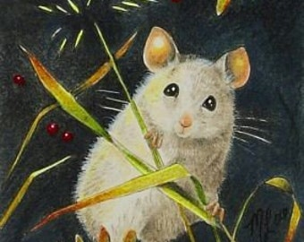 Charming  Mouse Art  Melody Lea Lamb ACEO Giclee Print