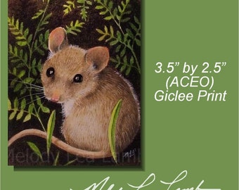 Cute Little Mouse Miniature Art by Melody Lea Lamb ACEO Giclee Print