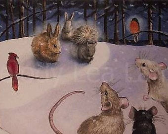 Mouse Book Illustration Melody Lea Lamb ACEO Giclee Print