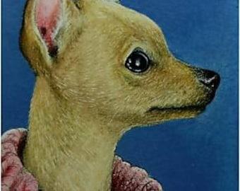 Chihuahua Dog Art A4C All Profits to Charity ACEO Melody Lea Lamb