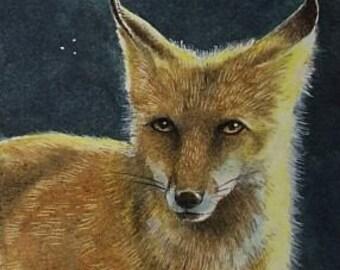 ACEO OE Print Wildlife Art Melody Lea Lamb Fox