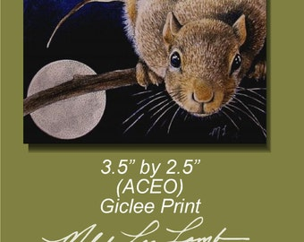 Squirrel and Moon Wildlife Art Melody Lea Lamb ACEO Print