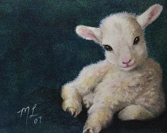 Baby Lamb Animal Art Melody Lea Lamb ACEO Print