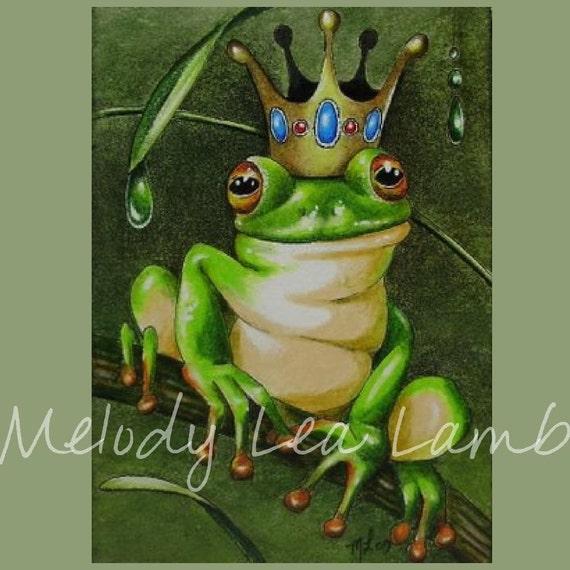 Frog Prince Three Miniature Art Melody Lea Lamb ACEO Giclee Print