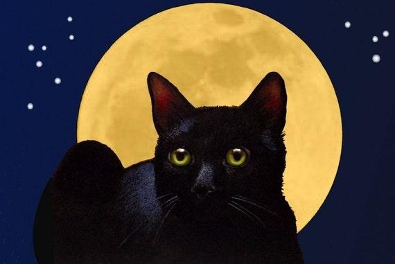"4"" x 6"" Black Cat and Full Moon Art Giclee Print Melody Lea Lamb"