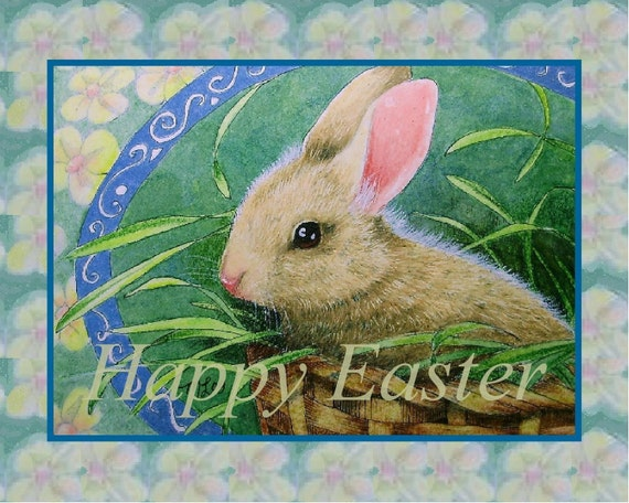 Easter Bunny Rabbit Card by Melody Lea Lamb