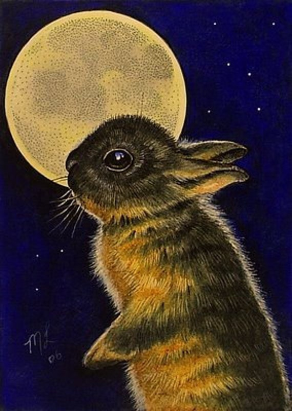 Fall Bunny Full Moon Miniature Art by Melody Lea Lamb ACEO Giclee Print