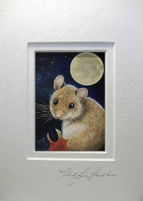 Matted ACEO Giclee Print Tiny Fall Mouse Art by Melody Lea Lamb