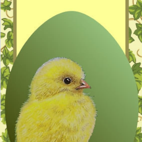 Baby Chick Spring Easter Bookmark From Original Painting by Melody Lea Lamb