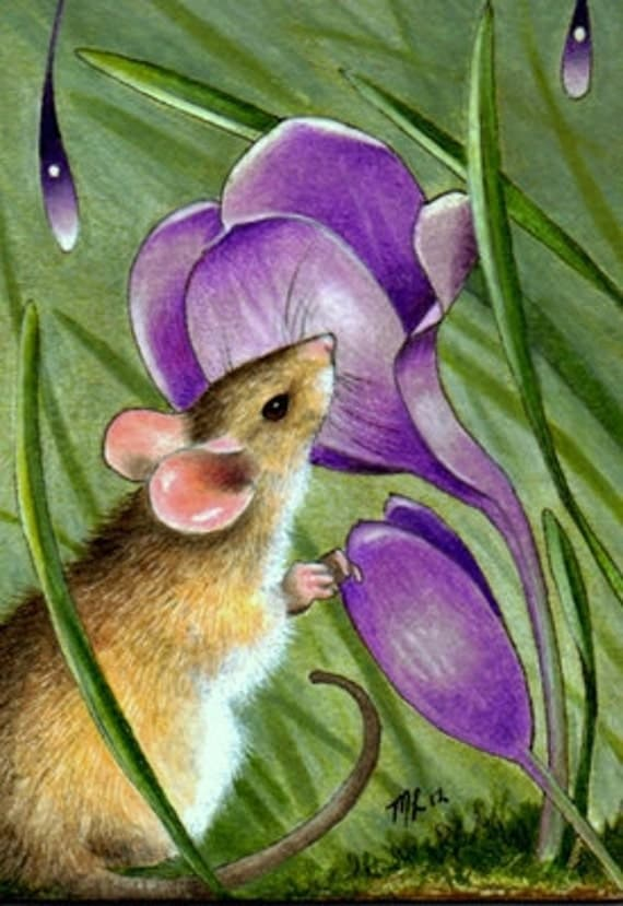 Mouse and Flowers Miniature Art by Melody Lea Lamb ACEO Giclee Print