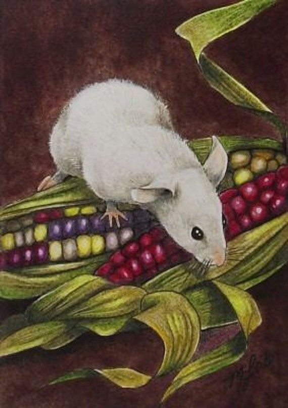 Fall Harvest Mouse Miniature Art Melody Lea Lamb ACEO Giclee Print