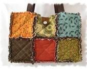 Shabby n Chic Tranquillity Chocolate Custom Boutique Rag Tote Handbag Diaper Bag