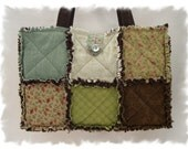 Shabby n Chic Chocolate Chelsea Market Custom Boutique Rag Tote Handbag Diaper Bag