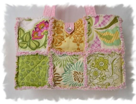 Shabby n Chic Pink Fresh Cut Rag Tote Handbag