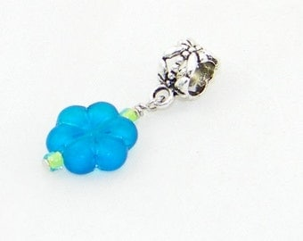 Handmade blue glass flower large hole dangle charm bead for European bracelet and necklaces