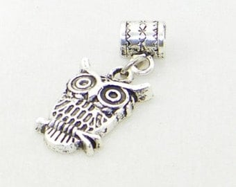 Tibetan silver wise owl dangle charm bead for European bracelets and necklaces