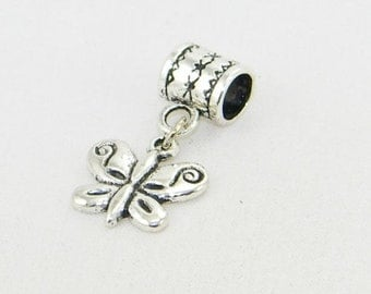 Tibetan silver butterfly dangle charm bead for European bracelets and necklaces