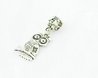 Tibetan silver owl dangle charm bead for European bracelets and necklaces