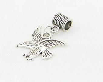 Tibetan silver eagle dangle charm bead for European bracelets and necklaces