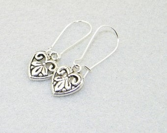 Silver heart ornate charm earrings, love, Valentines Day, February 14th, jewelry
