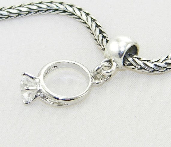 silver engagement ring dangle charm bead for pandora style