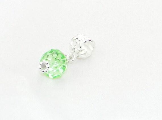 August birthstone glass dangle charm bead