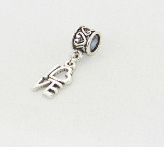 Tibetan silver Love dangle charm bead