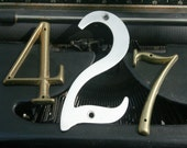 3 Vintage House NUMBERS 427 or 742 274 247 BRASS Aluminum Altered Art Mixed Media