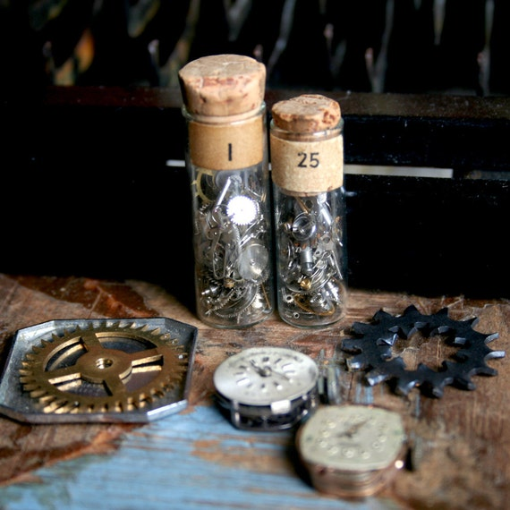 7 Piece Plus Vintage WATCH Parts Partial Watch VIALS Filled with TINY Parts Glass Cogs Jewelry Altered Art  Mixed Media 7