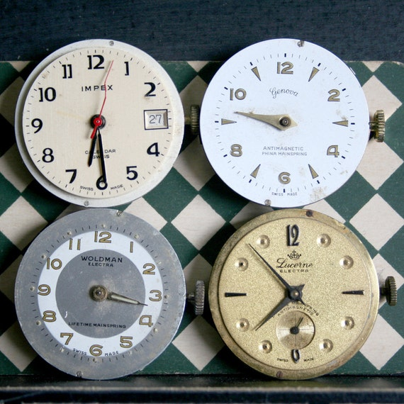 4 Vintage Wrist Partial WATCHES FACE Lot JEWELRY Metal Altered Art Mixed Media Steampunk