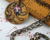 Keepsake--Lavender Haze Necklace with Etched Brass and Sparkly Glass