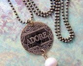 Keepsake--Adore, Etched Brass and Pearl Necklace