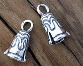 2 Sterling Silver Decorative Crimp End Cones for Cord 5.5mm -Set of 2