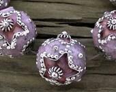 3 Exotic CLOISONNE Enamel Star Beads Lavender Plum, 12mm -Set of 3