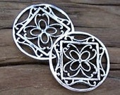 SALE--Qty 2 Turkish Sterling Silver MONARCH CIRCLE Charms 16mm -Set of 2