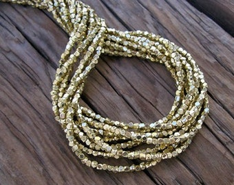 Ethnic Gold Plated BRASS Beads Faceted Cubes 2.5x2.5mm -24 in. Strand