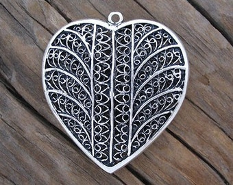 LARGE Turkish Sterling Silver Filigree HEART Pendant -43mm