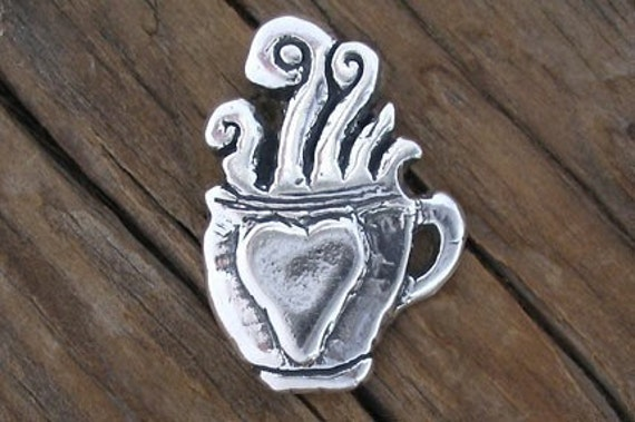 Rugged Sterling Silver COFFEE TEA Cup Pendant with Steam -23x32mm