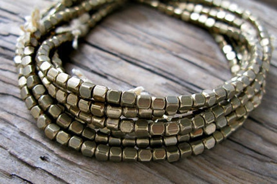 Ethnic Tribal BRASS Faceted Square Beads, 3x3mm -24 in. Strand