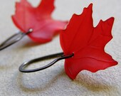 Red leaves earrings