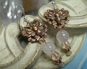 Pink and Copper Butterfly Dangles