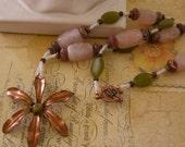 Spring Copper Daisy Necklace