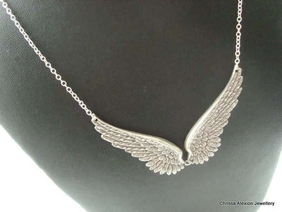 Angel Wing Necklace Antique Silver Angel Wing Necklace