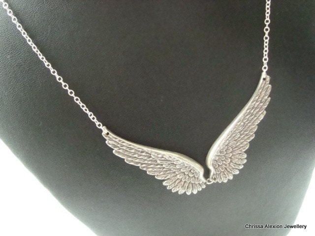 wing necklace antique silver wing necklace
