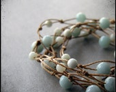 reserved for lauren. GAIA necklace - amazonite and tan - extra long.
