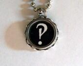 Interrobang Black Vintage Typewriter Key Necklace