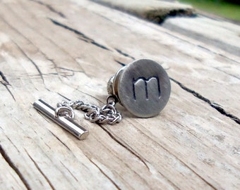 Custom Hand Stamped Tie Tack Lower Case Font